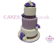 3 Tier Purple & White Tower Wedding Cake
