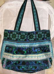 Embroided Hand Bag - Medium size,  blue colour