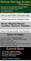 Pakistani Matrimonial in USA,  Dubai,  UK,  London,  Australia